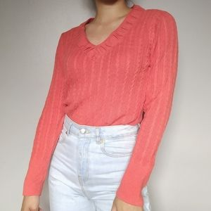Coral Cable Knit Sweater